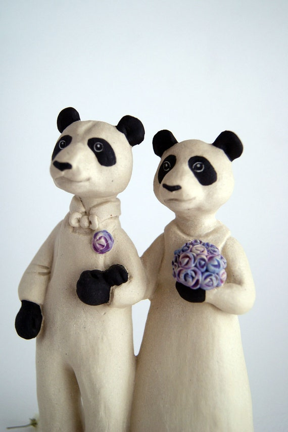 panda bear couple wedding cake topper - bride and groom - animal husband and wife - ceramic