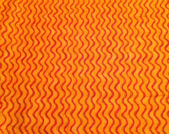 Orange Pink Squiggles Cotton Fabric x one yard by Fabri-Quilt