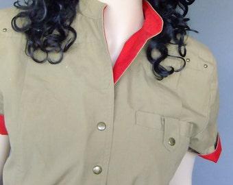 80s dress, beige red dress, shirt dress, military style, short sleeve dress, new wave