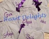 Bridesmaids Monogrammed Pajama Bottoms Seersucker PJs Teens Girls Ladies Bride Gift Sleep Pants