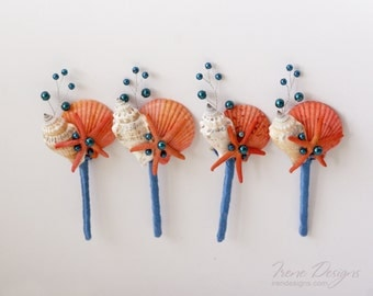 Set of navy blue and coral boutonnieres for beach wedding. Seashells boutonnieres set of 4.