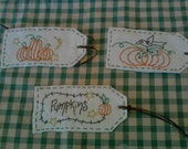Primitive Pumpkin and Crow Fabric Tags, Fall, Harvest