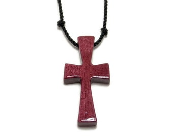 Cross Necklace, Cross Pendant, Handmade Men's Cross Necklace in Purpleheart