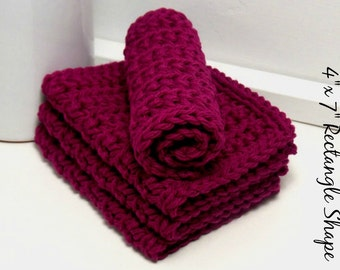 Hand Crochet Dishcloths, Eco Friendly Dishcloths, Burgundy Dishcloths, Cotton Dishcloths, Reusable Dish Cloths, Kitchen Dish Rags, Set of 4