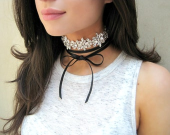 SALE, Choker Necklace, Layer Necklace, Rhinestone Choker, Leather Choker, Sparkly Necklace, Bow Necklace, Sparkly Choker, Ready To Ship