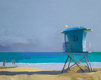 "Oil Painting, 24x36"", Lifeguard Tower at the Beach, Beach Decor  by B. Kravchenko for SEASTYLE"