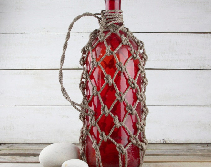 "Beach Decor, Pirates Rum Jug 20""  Red Glass"