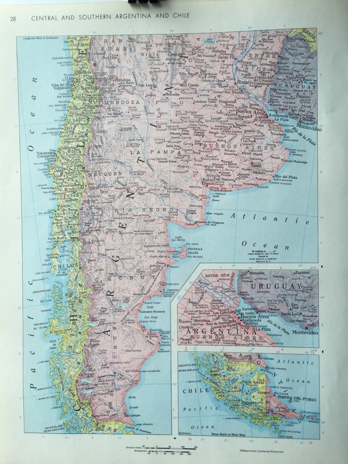 Vintage 1967 rand mcnally world atlas map page south america on 500 gumiabroncs Images