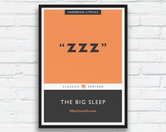 ZZZ, The Big Sleep Penguin Classics Parody Print, Tangerine Orange, Charcoal black art, Book Cover, Bedroom wall art, ZZZ Art, Printable Art
