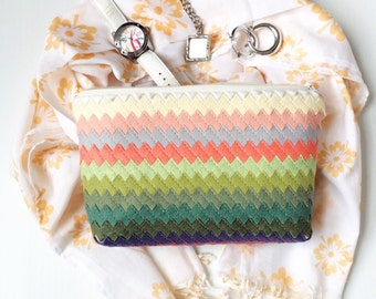 Large Zipper Pouch Travel Accessories Gifts Jewelry Pouch Wool Felt Bag Pastel Rainbow Chevron Bag Personalized Bag
