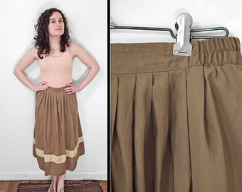 OLIVE Maxi Skirt 1980s Asian Tribal Spirals Flowy Medium