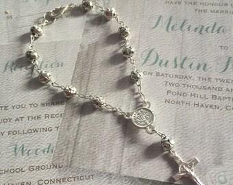 12 pcs Saint Benedict bracelet, silver tone metal roses bracelets,First communion favors,Bracelet Rosary Baptism Favors,wedding favors Narel