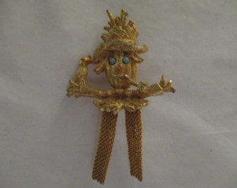 Vintage Scarecrow and Crow Pin Brooch Gold Metal Costume Jewelry Turquoise Bead Eyes Fall Autumn