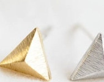 Holiday SALE 50% OFF Tiny Triangle Studs ... GOLD