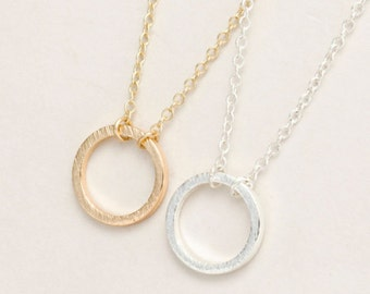 Gold Circle Necklace, Delicate Circle Necklace, Minimalist Circle Necklace, Circle Jewelry, Circle Bridesmaids Necklace, Dainty Necklace