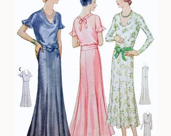 1930s Style Cowl Neck Long Evening Gown with Trumpet Skirt Hem Dress Custom Made in Your Size From a Vintage Pattern