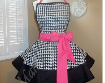 Houndstooth Print Accented With Hot Pink Woman's Retro Apron With Tiered Skirt And Bib