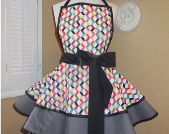 Geometric Print Woman's Retro Apron With Tiered Skirt And Bib...Last One Available