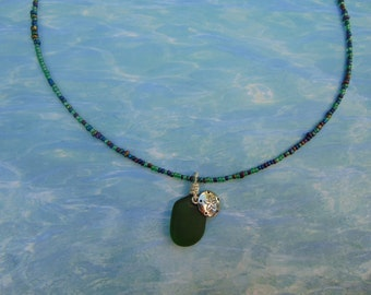 Green Sea Glass Pendant Necklace with Sand Dollar charm