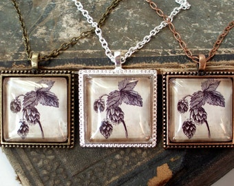 Beer Hops Necklace - Antique Hops Print Pendant in Bronze , Copper , or Silver - Craft Beer - Home Brew