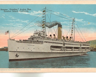 Vintage Postcard, Steamship Catalina, Catalina Island, California, Avalon Bay