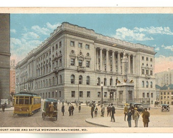 Vintage Postcard, Baltimore, Maryland, Court House and Battle Monument, ca 1915