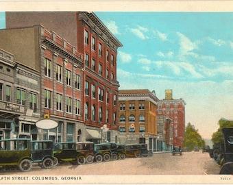 Linen Postcard, Columbus, Georgia, Twelfth Street, ca 1925