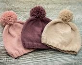 Pom Pom Baby Beanie Hat - hand knit, luxury yarn - Choose Colour/Size