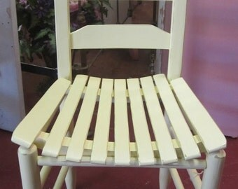 Shabby Yellow Ladder Back Chair Prairie Chic Farmhouse