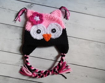 Baby Girl Owl Hat, Pink Owl hat with Flower, Toddler Owl Hat, Mae to Order