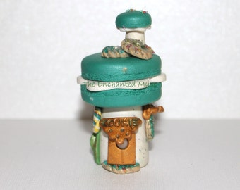HALF OFF SALE Deliciously Whimsical Turquoise Macaron Fairy Bakery House