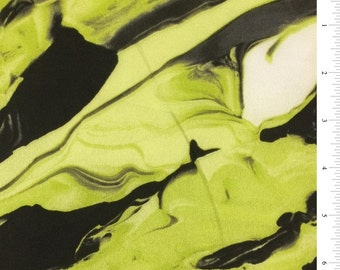 "54"" Lime/Black Silk Crepe de Chine-Wholesale by the Yard"