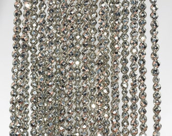 2mm Palazzo Iron Pyrite Gemstone Grade AAA Faceted Round 2mm Loose Beads 15 inch Full Strand (90183465-147)