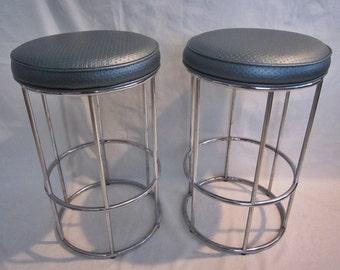 Vintage Chrome Barstools, Pair