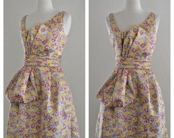 CLEARANCE 60s Style Metallic Lame Lurex Floral Dress with Bow Front in Yellow Metallic Gold with Purple Pink and Light Blue Size Small Mediu