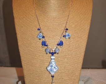Lovely Sterling silver Asian inspired blue and white bead Necklace
