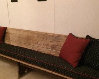 custom listing for a church pew cushion and 4 pillows using black and burgundy - Church Pew