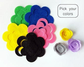 Felt Flower Unassembled - Size: 35mm.  Pick your colors, felt shappes, felt die cut, felt supplies, die cut