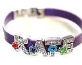 Sparkling Floral Rhinestone Letter Bracelet