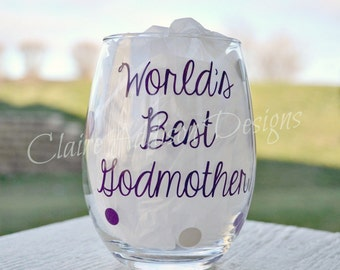 Personalized Stemless Wine Glasses - World's Best Godmother, Momma's Sippy Cup, Auntie's Sippy Cup, Girls' Weekend, Mommy's Time Out, Gift