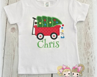 Christmas Wagon with Tree Shirt- Boys Holiday Shirt