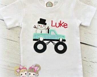 Boys Christmas shirt - Christmas monster truck shirt - snowman shirt in truck - first Christmas - embroidered holiday shirt
