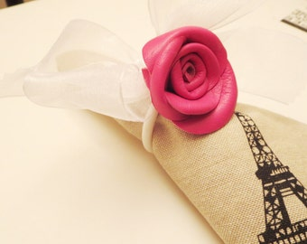 Houseware Pink  Leather Rose Napkin Rings set of 2