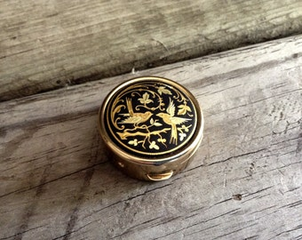 Pill Box Asian Inspired Art Engraved in Gold Metal Trinket Jewelry Box Ring Storage