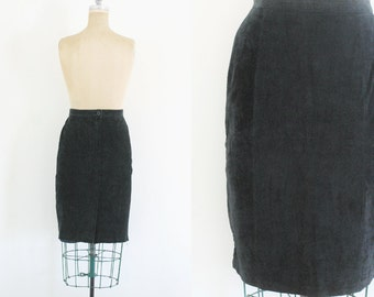 Vintage Black Suede Pencil Skirt Black Pencil Skirt Leather Pencil Skirt Black Leather Skirt Black Pencil Skirt Size 10 Size 12 Mediu
