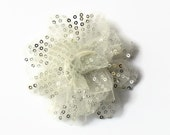 "Sequin and Tulle Flowers. 3.5"" WHITE/SILVER Sequin Flowers. You Choose Quantity. ~~ Noelly Collection."