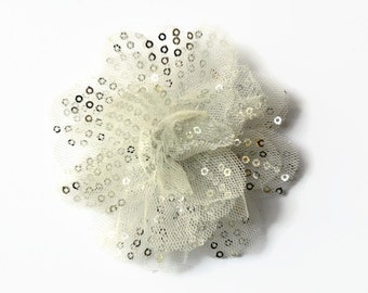 """Sequin and Tulle Flowers. 3.5"""" WHITE/SILVER Sequin Flowers. QTY: 1 Flower ~~ Noelly Collection."""