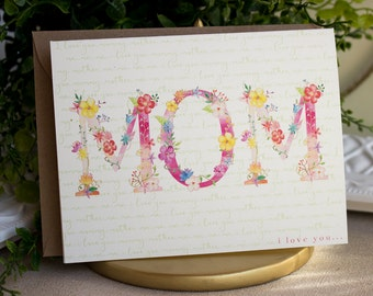 Mother's Day Handmade Single Greeting Card  A2 Floral Mom mum mamma mommy