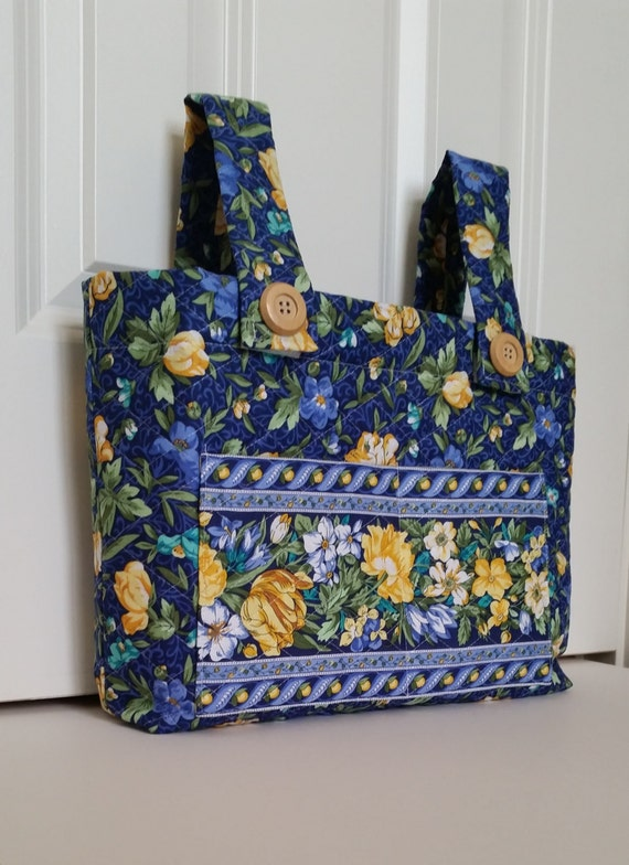 Walker Bag Blue And Yellow Floral Print Quilted Purse