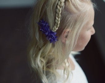 The Wood Anemone: Flower Girl Hair Clip in Purple